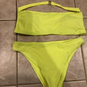 Neon yellow alter strap bikini